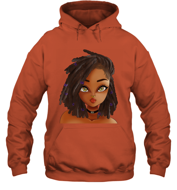 Goddess Black Girl Magic Art - Black Angel Wings Hoodie