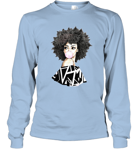 Black Women Art - Melanin Poppin Bubble Women Long Sleeve T-Shirt