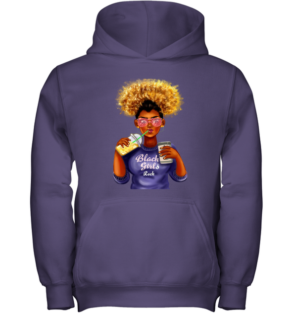 Black Girl Art - Afro Black Girls Rock Youth Hoodie