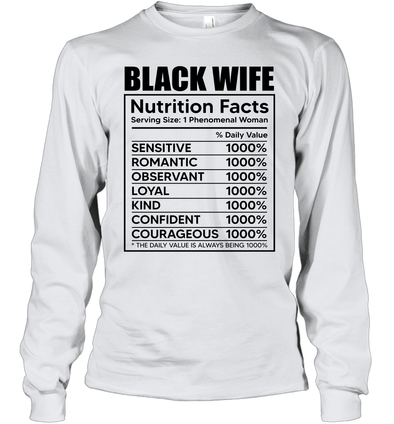 Black Wife Nutrition Facts Youth Long Sleeve T-Shirt