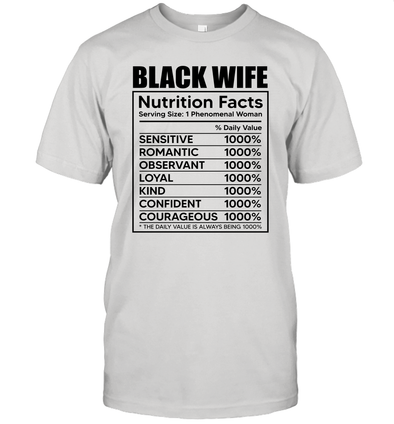 Black Wife Nutrition Facts Unisex Tee