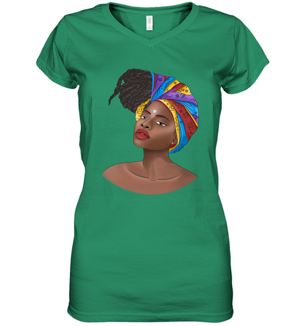 Natural Africa Loves - African Headwraps Dreadlocks Hair Women Women's V-Neck T-Shirt