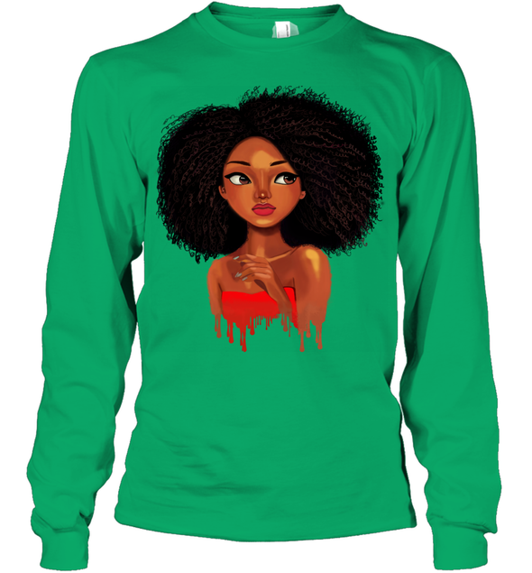 Black Afro Natural - Kinky Curly Cute Girl Youth Long Sleeve
