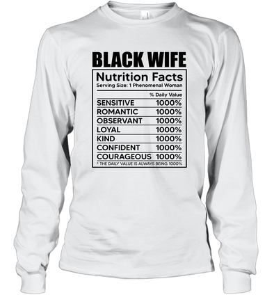Black Wife Nutrition Facts Long Sleeve T-Shirt