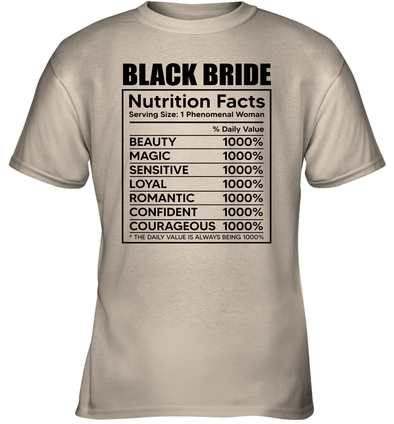 Black Bride Nutrition Facts Youth T-Shirt