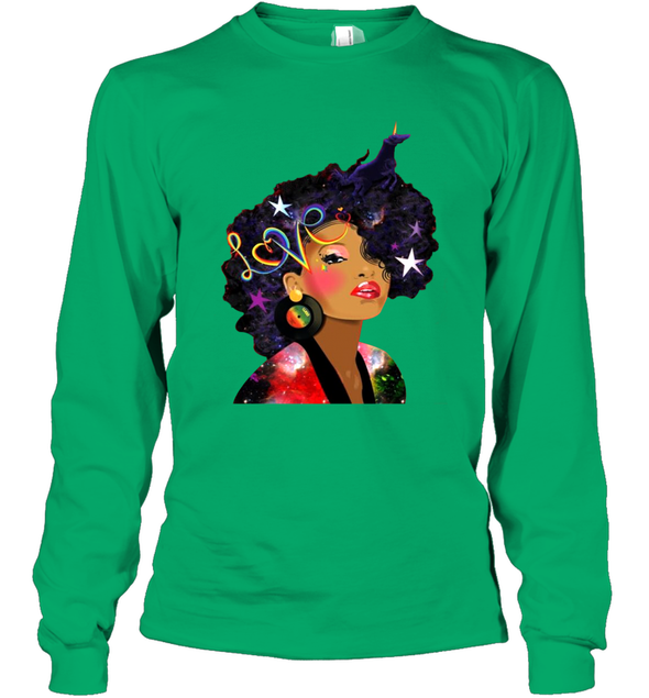 Afro Women Beauty - Love My Natural Hair Long Sleeve T-Shirt
