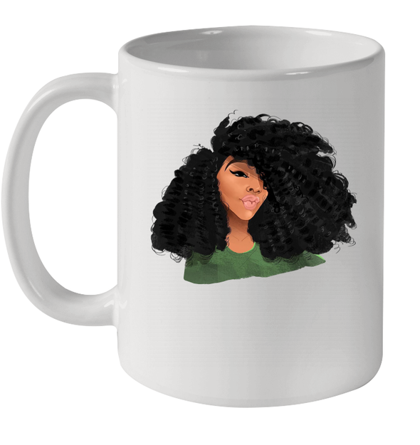 Afro Curly Girl Black Curls Art Mug