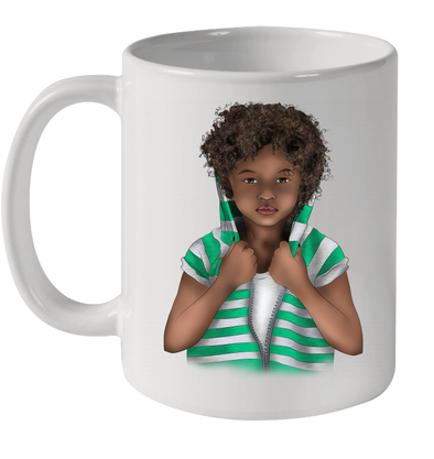 African Curly Hair Kid Vintage Green White Africa Kid Art Mug