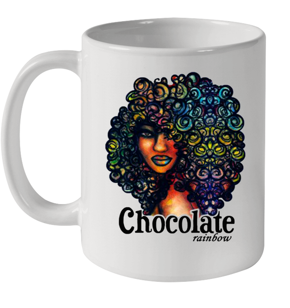 African American Art Afro Natural Hair Chocolate Rainbow Mug