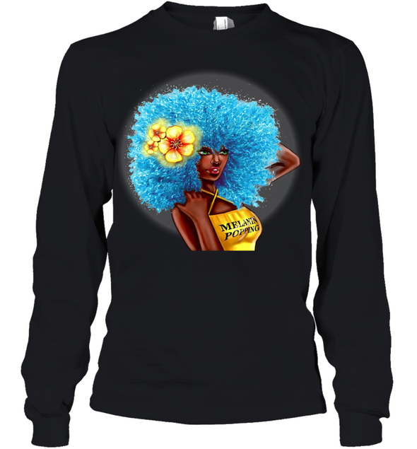 Black Women Art - Blue Melanin Poppin Fro Youth Long Sleeve
