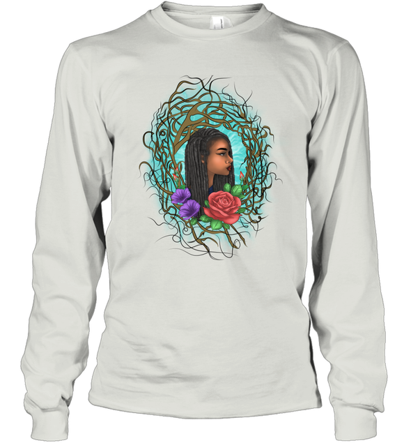 Locs Style For Women Art Wild Natural Style Long Hair Girl Long Sleeve T-Shirt