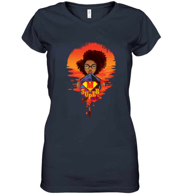 Mother's Day Present - Afro Kinky Curly Super Mom Women's V-Neck T-Shirt