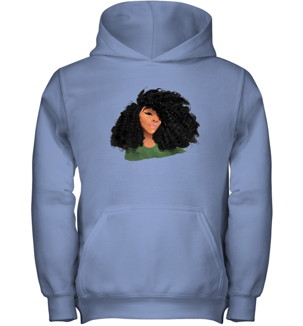 Black Curls Art - Afro Curly Girl Youth Hoodie