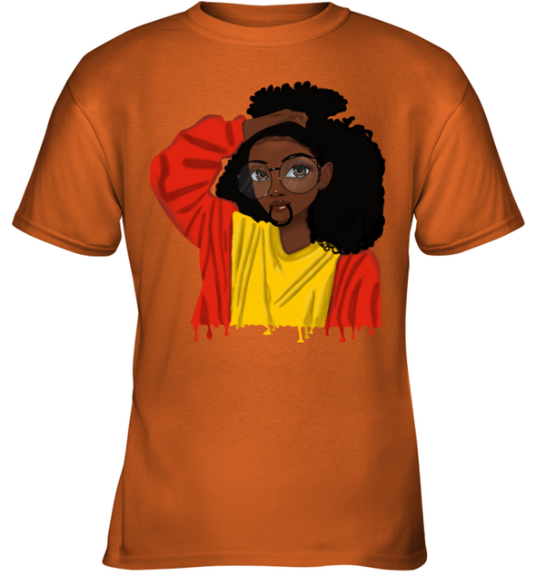 Black Girl Curly Hair - Cute Black Girl Curly Afro Youth T-Shirt