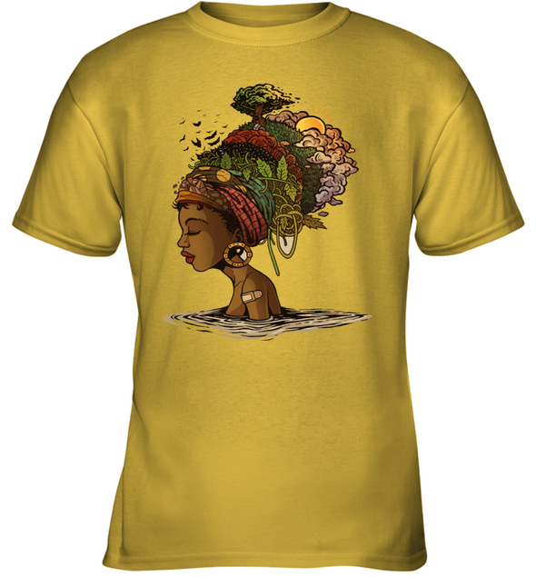 Afro Black Woman Headwrap Style African Natural Headwraps Women Youth T-Shirt