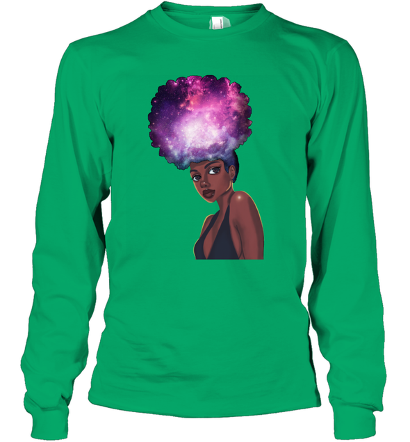 Naptural Hair Styles - Black Girls Rock Galaxy Long Sleeve T-Shirt
