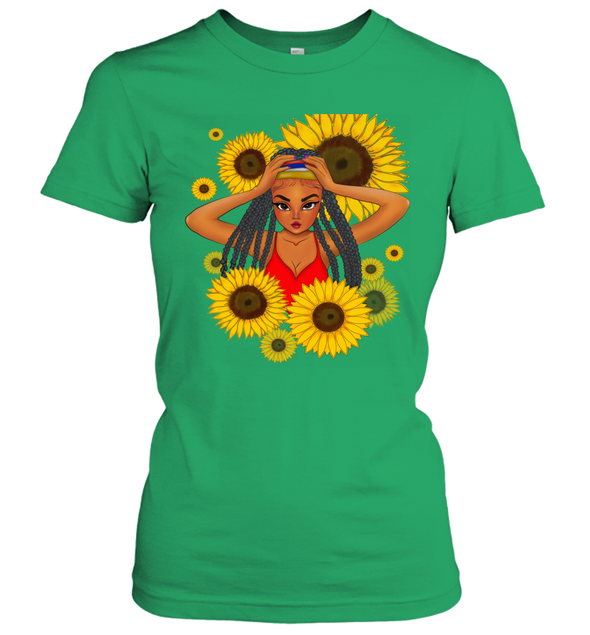 African Locs Style Art - Dreadlocks Cute Little Girl Sunflower Women's T-Shirt