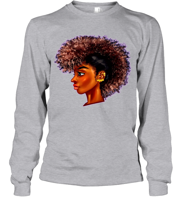 Black Women Locs Art - Afro Dreadlock Youth Long Sleeve