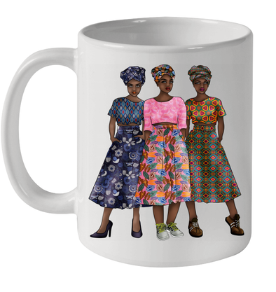 Black Artwork Traditional Black Older Women Friends Africa Style Mug