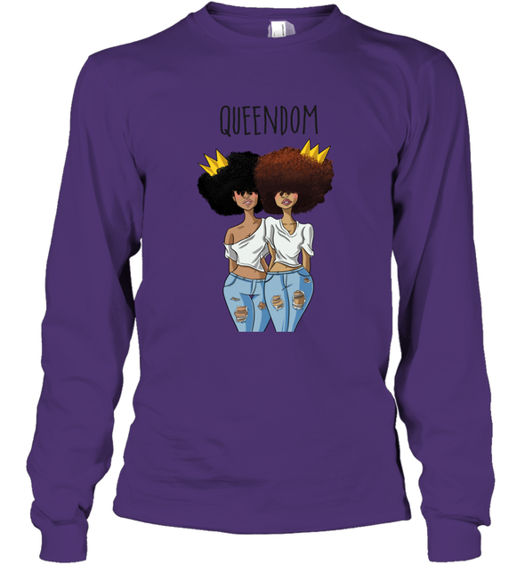 Black Queen Art - Friends Natural Hair QUEENDOM Long Sleeve T-Shirt