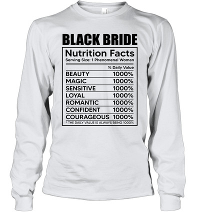 Black Bride Nutrition Facts Youth Long Sleeve T-Shirt