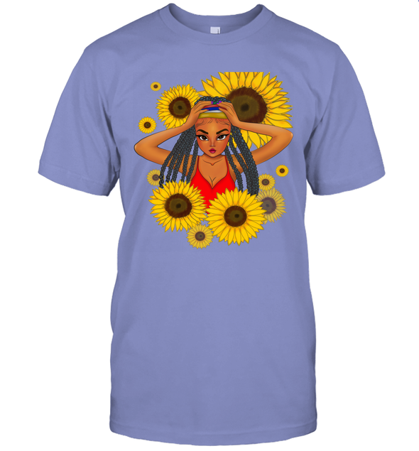 African Locs Style Art - Dreadlocks Cute Little Girl Sunflower T-Shirt