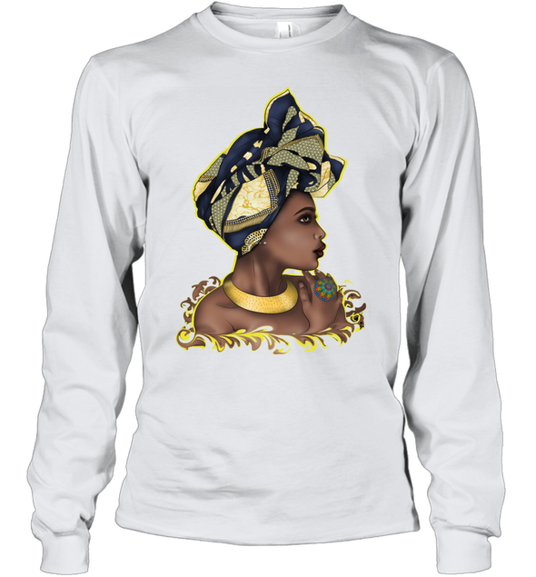 African American Women Art Traditional Turban Woman Youth Long Sleeve