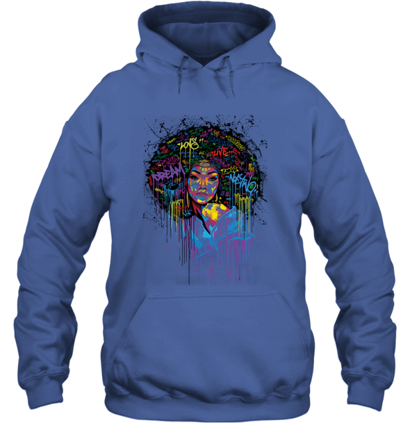 Black Women Artwork - Natural Afro Coloful Word Art Hoodie
