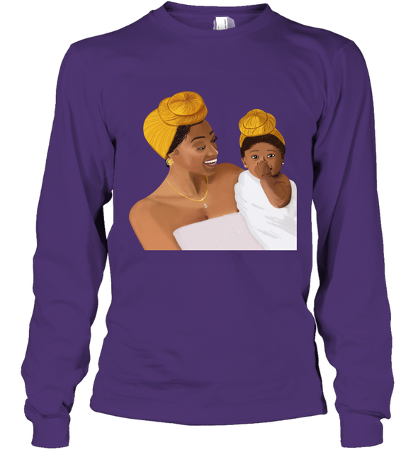 Beauty Black Headwrap - Cute Mom And Baby Love Long Sleeve T-Shirt