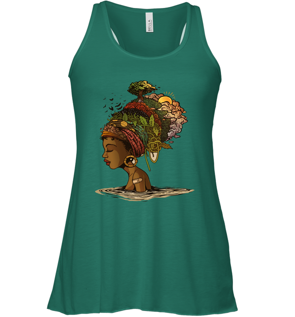 Afro Black Woman Headwrap Style African Natural Headwraps Women Racerback Tank