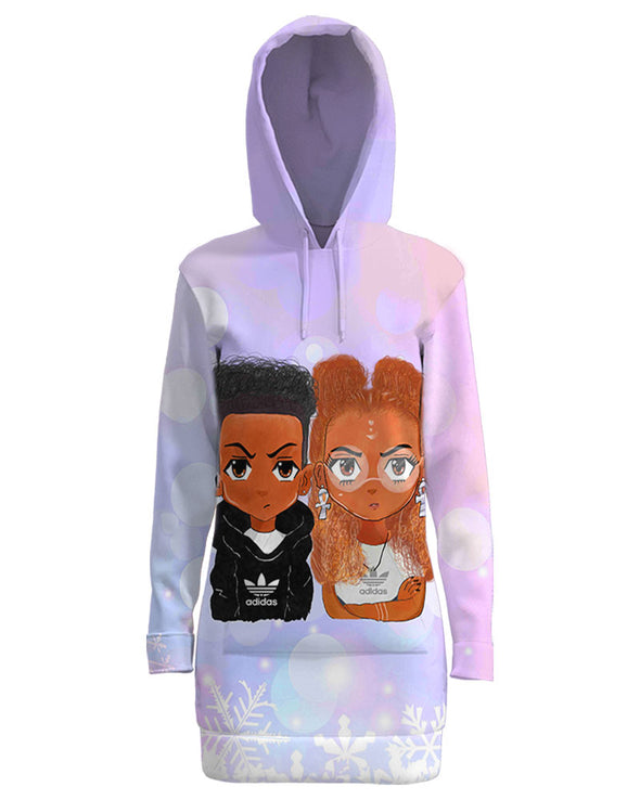 Cute Black Couple Chibi All Over Apparel