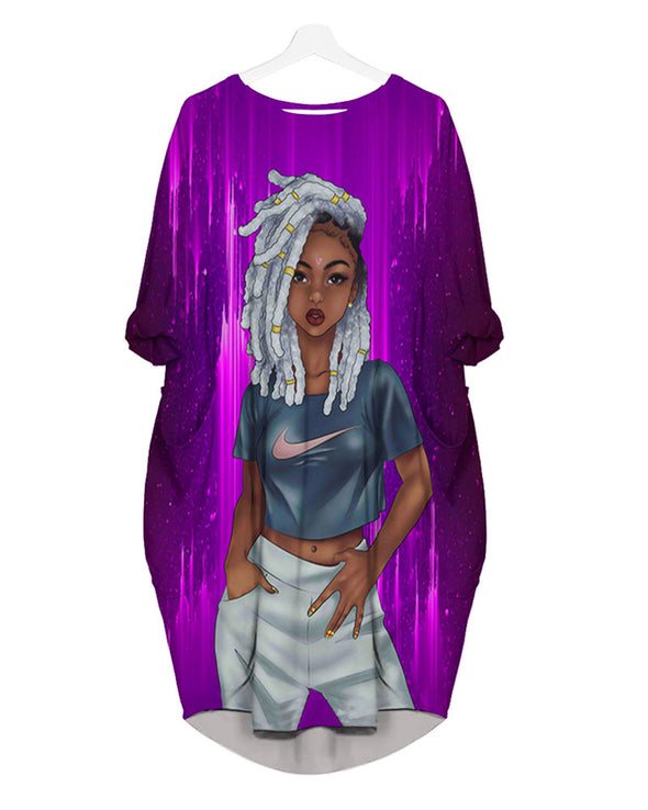 Cool Girl Dreadlock Gray Hair Style All Over Apparel