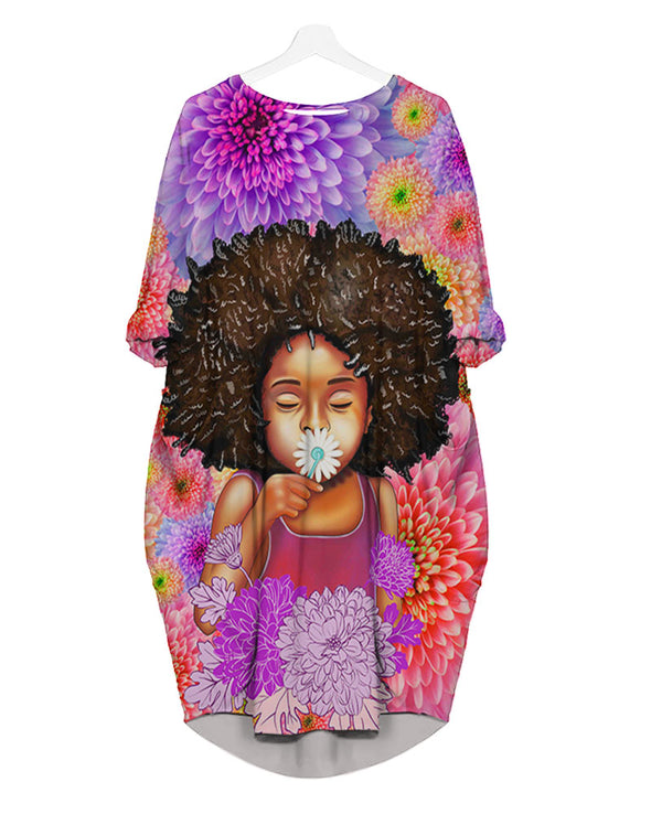 Afro Girl Daisy Cute Kid Flower Style All Over Apparel