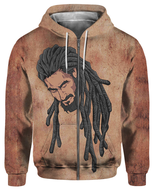 Long Locs Black Hair Man All Over Apparel