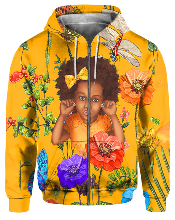 Nice Curly Fro Natural Flower Style All Over Apparel