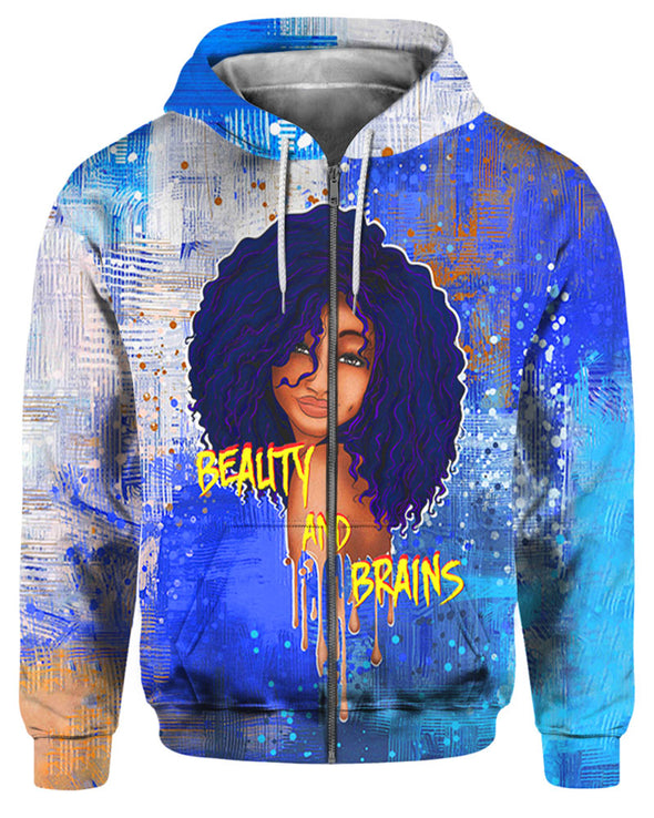 Beauty And Brains Melanin Poppin Women All Over Apparel