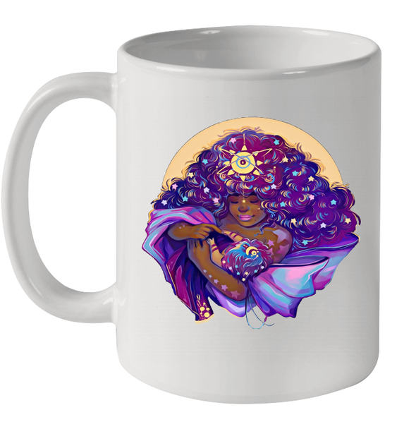 Beauty Mother And Baby Galaxy African American Women Art Mug