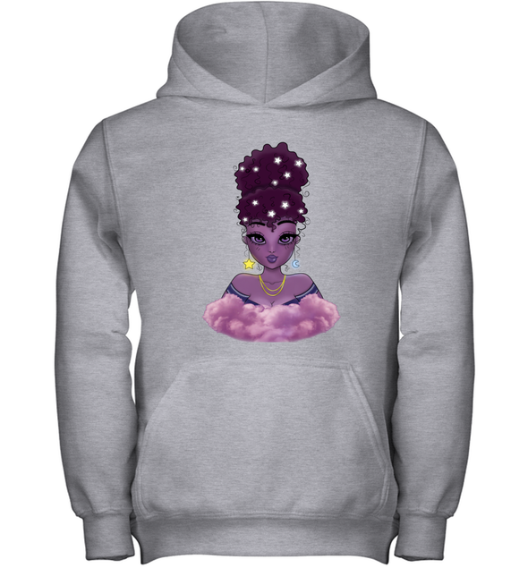 Natural Afro Princess - Purple Lovely Moon Star Afro Girl Youth Hoodie