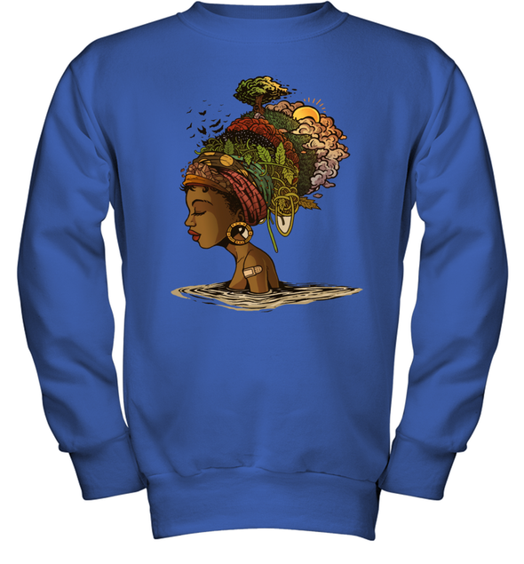 Afro Black Woman Headwrap Style African Natural Headwraps Women Youth Sweatshirt