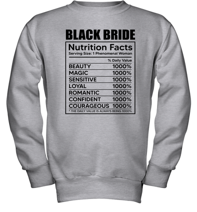 Black Bride Nutrition Facts Youth Sweatshirt