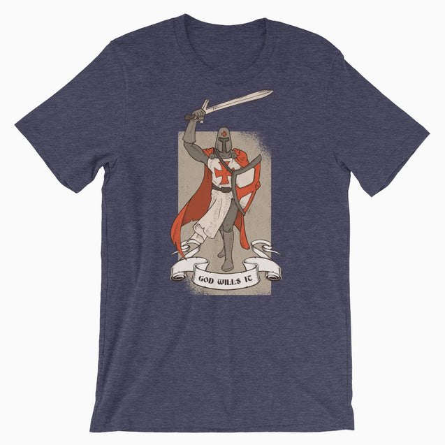 God Wills It Deus Vult Shirt - Christian T-Shirt | Adult Unisex - Heather Midnight Navy / Xs - T-Shirt