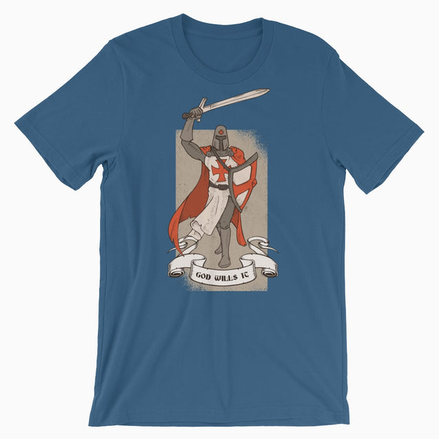 God Wills It Deus Vult Shirt - Christian T-Shirt | Adult Unisex - Steel Blue / S - T-Shirt