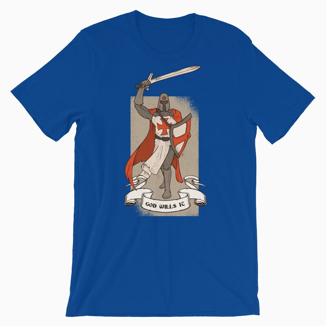 God Wills It Deus Vult Shirt - Christian T-Shirt | Adult Unisex - True Royal / S - T-Shirt
