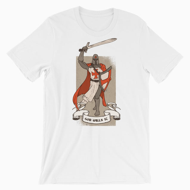 God Wills It Deus Vult Shirt - Christian T-Shirt | Adult Unisex - White / Xs - T-Shirt