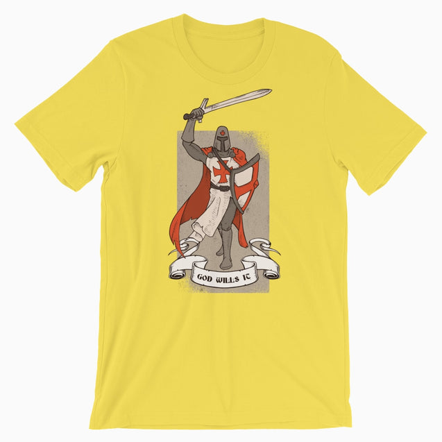 God Wills It Deus Vult Shirt - Christian T-Shirt | Adult Unisex - Yellow / S - T-Shirt