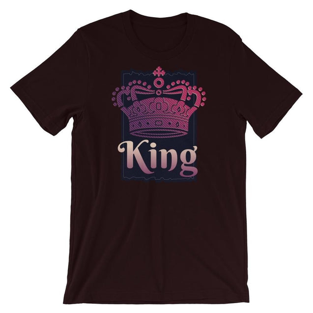 King Of Kings Crown And Cross - Christian T-Shirt | Adult Unisex - Oxblood Black / S