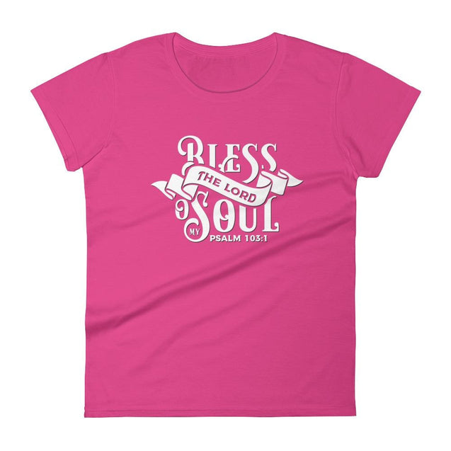 Womens Bless The Lord Christian T-Shirt - Hot Pink / S - T-Shirt