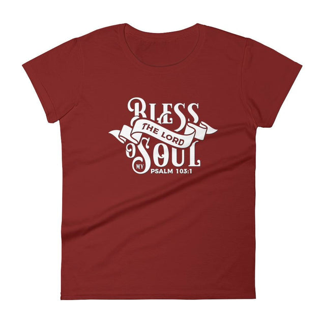 Womens Bless The Lord Christian T-Shirt - Independence Red / S - T-Shirt