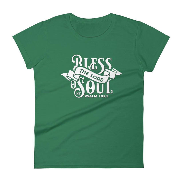 Womens Bless The Lord Christian T-Shirt - Kelly Green / S - T-Shirt