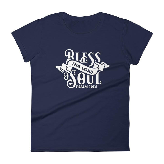 Womens Bless The Lord Christian T-Shirt - Navy / S - T-Shirt